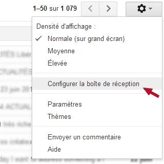 Gmail : configurer la boîte de réception