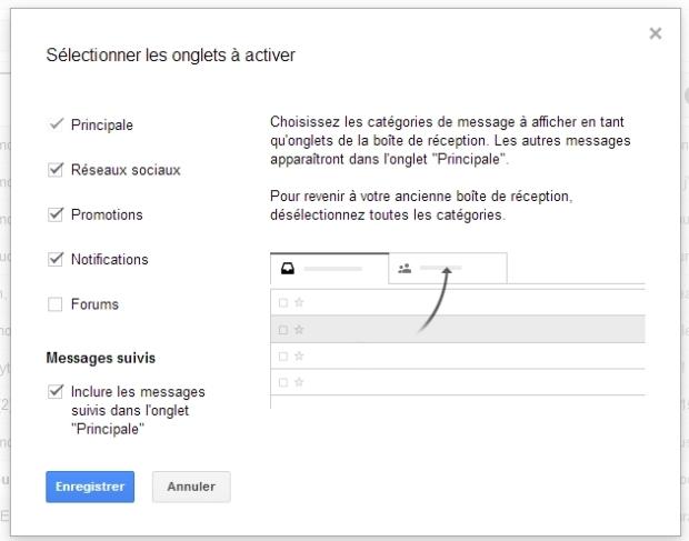 """NB - Si tu utilises différents onglets, je te recommande de cocher l'option """"Messages Suivis""""."""