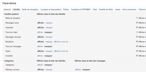 Gmail : afficher ou masquer les libellés.