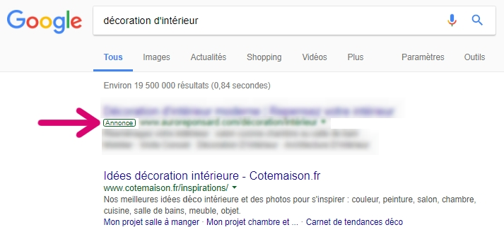 SEA - Google Ads : exemple d'affichage