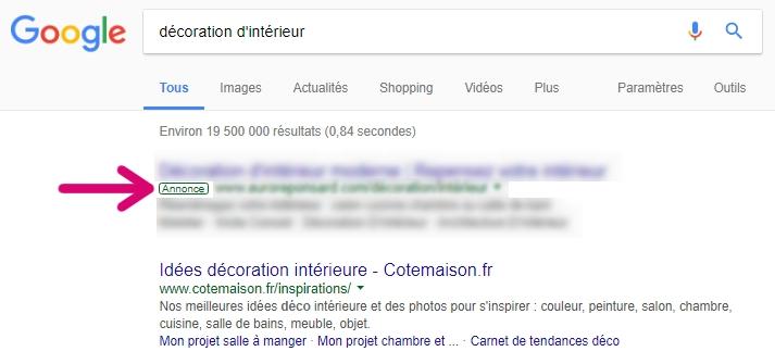 SEA - Google Ads : exemple d'affichage