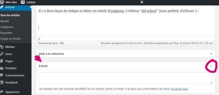 Situé le champ de l'extrait personnalisé dans l'éditeur WordPress